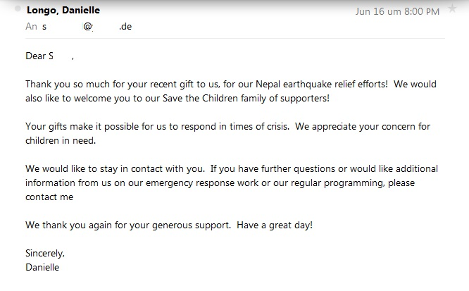 Save the Children Thank You