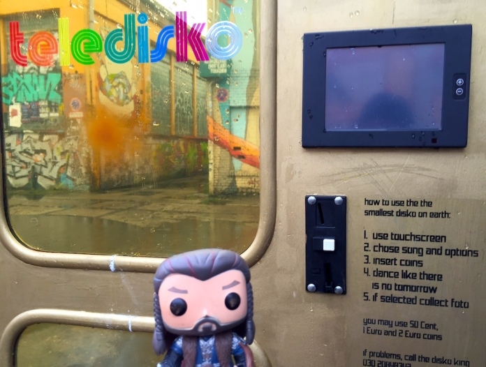 Thorin at Berlin's smallest disco (situated in an old telephone box)