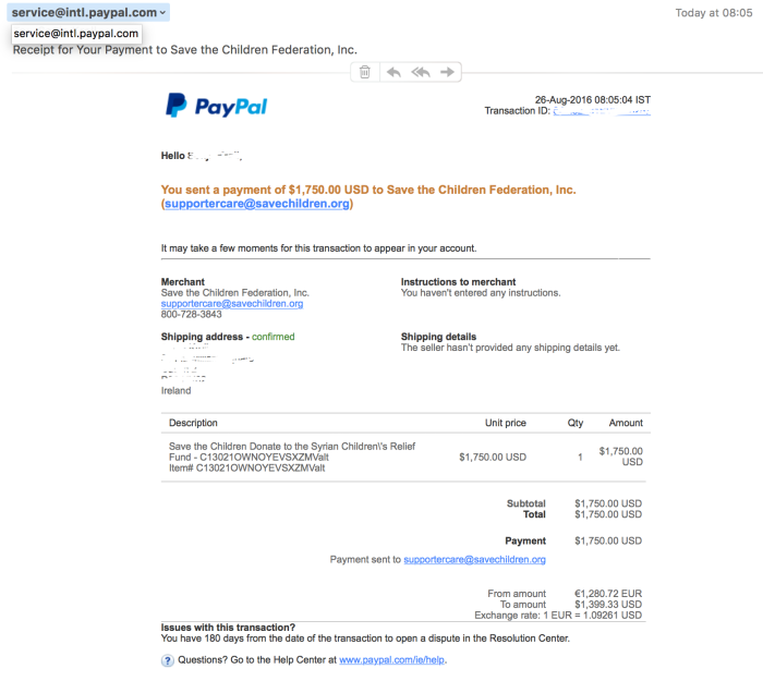 Donation Receipt Aug 2016