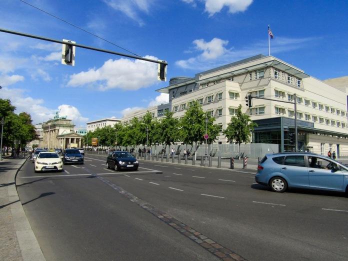 Brandenburg Gate on the left